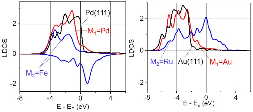 Local density of the d-electron states calculated for Au and Ru atoms in the sandwich-like structure: Au/Ru/W(110). Figure taken from J. Phys. Chem. Letts. 3, 463 (2012)