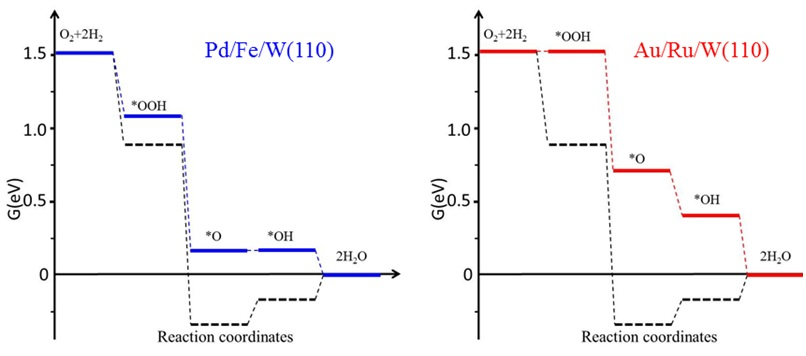 ORR free-energy diagrams calculated for Pd/Fe/W(110) and Au/Ru/W(110) compared with that for Pt(111) (dashed black lines) for an electrode potential U = 0.85 V.