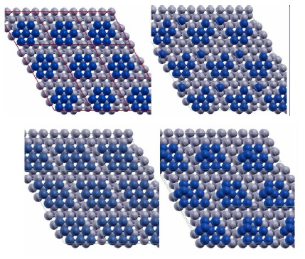 (Top) Two configurations of a 7-atom Pt island (blue) on Ru(0001) (grey) showing the detachment of one Pt atom. The configuration in the right panel has lower Eform=n than the configuration in the left panel by 0.14 eV. (Bottom) Two configurations of a 9-atom Pt island (blue) with 2D(left) and 3D(right) structure on Ru(0001) (grey) used in calculations.